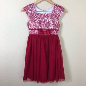 Euc Jona Michelle red tulle & lace occasion dress